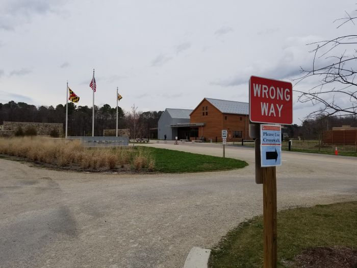 A Model Indoctrination Center: The Harriet Tubman Museum, near Cambridge, Maryland. The sign says it all. The facility processes bus-loads of captive school children daily. (Photo by author).
