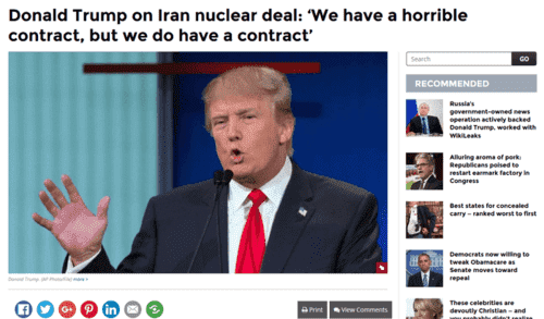 Donald trump on iran nuclear deal we have a horrible contract but we do have a contract   washington times   2017 01 09 18.23.57