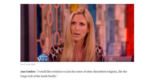 Ann Coulter's Satirical Reply To Radio Derb On Evolution
