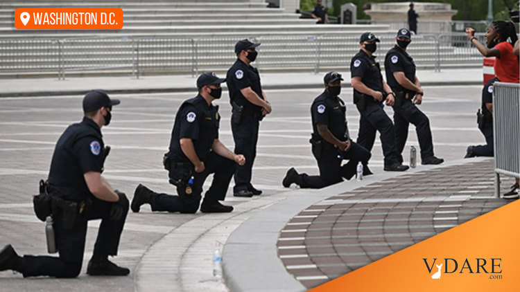 Above, a picture of Capitol Police kneeling  at a June, 2020 BLM demonstration
