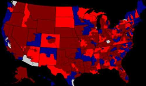 The bright red Congressional districts on this map represent Democratic losses in 2010.