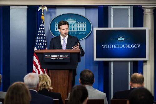 Press Secretary Josh Earnest, pictured not saying anything