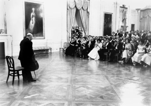 Dinner for Governor and Mrs. Munoz-Marin. Pablo Casals performs. President and Mrs. Kennedy, Governor and Mrs. Munoz-Marin, Cabinet Secretaries, guests. White House, East Room. Please credit