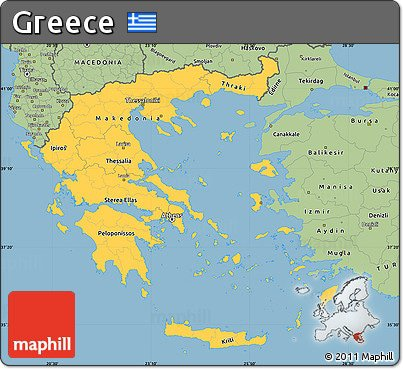 Free rounded savanna style simple map of greece1