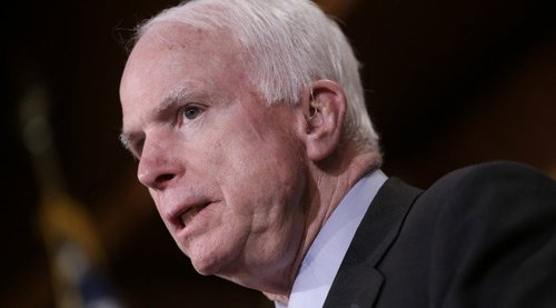 "WASHINGTON, DC - MARCH 26:  U.S. Sen. John McCain (C) (R-AZ) speaks during a press conference on the recent bombings by Saudi Arabia in Yemen March 26, 2015 in Washington, DC. During his remarks Graham said, ""The Mideast is on fire, and it is every person for themselves."" (Photo by Win McNamee/Getty Images)"