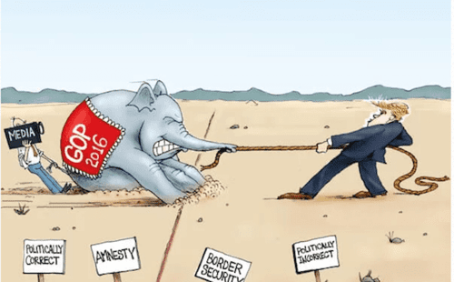 CartoonTrumpDragPoliticallyCorrectGOP