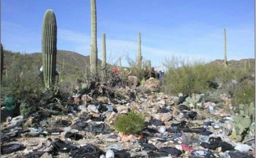 """It's not only people who are being """"dumped"""" on America. The illegals leave tons of litter in the border crossing areas."""