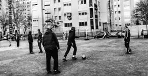 A French housing project--the inhabitants are playing soccer, not basketball.