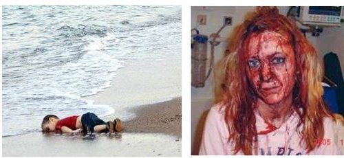 Drowned Syrian Child and Raped Swedish Woman. Credit: VDare.com