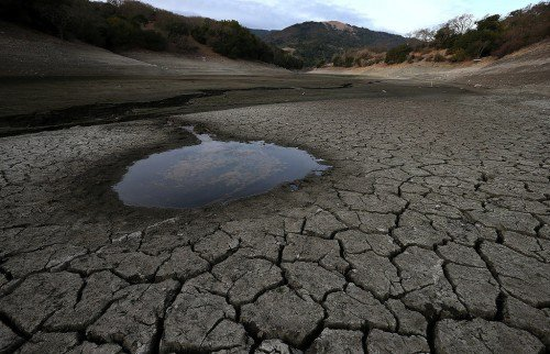 The depleted Almaden Reservoir near San Jose, California, in February 2014.