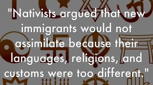 "This is a fairly typical presentation on ""nativism"" that ignores the fact that many of the nativists were right."