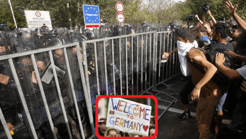 Header photo standoff hungary serbia border with welcome to germany inset