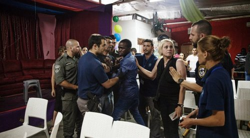 Israeli Police arresting illegals at a May graduation party; 7 caught