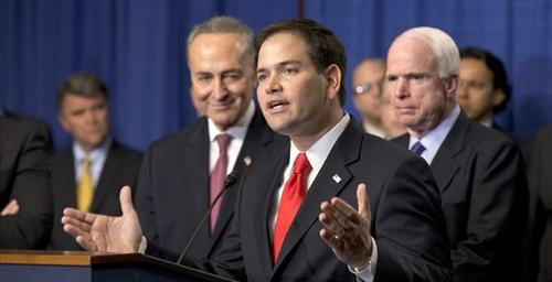 Rubio praising Gang of 8 bill with accomplices Schumer and McCain 2013