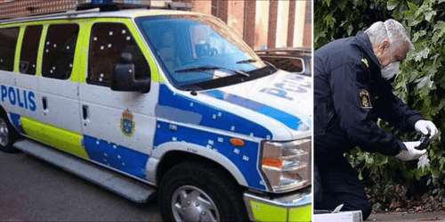 (L) Stockholm Police Van after grenade attack. (R) Defusing grenade in Malmo