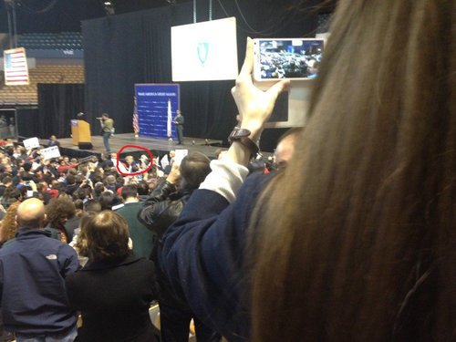 VDARE Chief Advancement Officer Lydia Brimelow photographs Donald Trump from back in the crowd.