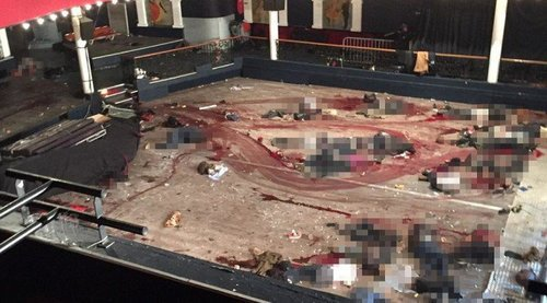 The Bataclan Theater--the pixelated sections are dead bodies, who not killed by either Frenchmen or Belgians, but Arabs.