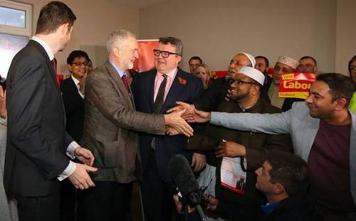 Jeremy Corbyn, Tom Watson, and local Labour candidate Jim McMahon meeting their imported base in the formerly English town of Oldham