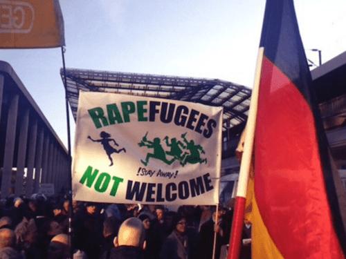 Colognerapefugeesnotwelcomesignpegida