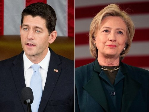 Ap paul ryan hillary clinton split jt 151031
