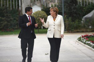 Prime Minister Ahmet Davutoglu of Turkey and Chancellor Angela Merkel of Germany met in Istanbul to arrange the surrender...