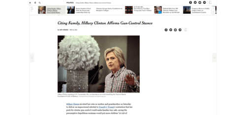 Citing family hillary clinton affirms gun control stance   the new york times   2016 05 22 08.33.29