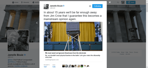Jamelle bouie on twitter in about 15 years we ll be far enough away from jim crow that i guarantee this becomes a mainstream opinion again. t.co mqpmdv59io   2016 05 29 17.00.51