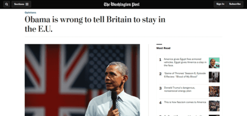 Obama is wrong to tell britain to stay in the e.u.   the washington post   2016 05 30 17.36.55