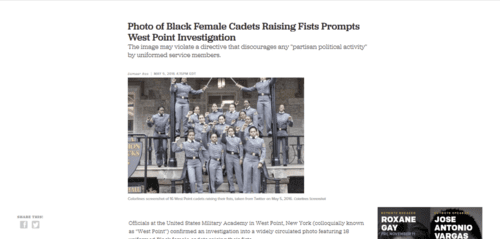 Photo of black female cadets raising fists prompts west point investigation colorlines   2016 05 07 21.48.21