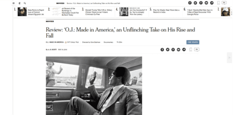 Review 'o.j. made in america' an unflinching take on his rise and fall   the new york times   2016 05 20 22.35.45