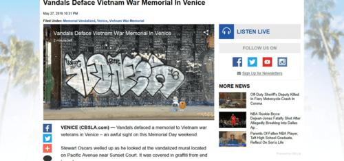 Vandals deface vietnam war memorial in venice « cbs los angeles   2016 05 28 22.29.04