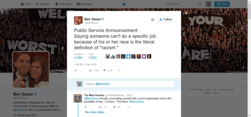Ben sasse on twitter public service announcement saying someone can t do a specific job because of his or her race is the literal definition of racism.   2016 06 09 11.48.39