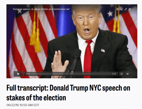Full transcript donald trump nyc speech on hillary clinton text video   politico   2016 06 22 13.40.26