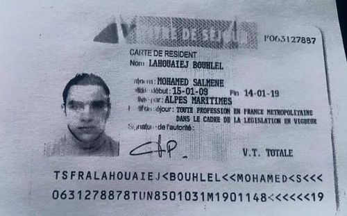 Id card reported to belong to mohamed lahouaiej bouhlel