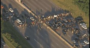 Protestors blocking roads