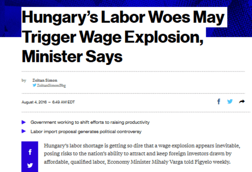 Hungary's labor woes may trigger wage explosion minister says   bloomberg   2016 08 09 12.13.37