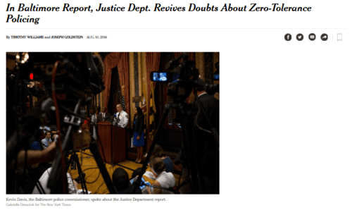 In baltimore report justice dept. revives doubts about zero tolerance policing   the new york times   2016 08 12 08.42.10