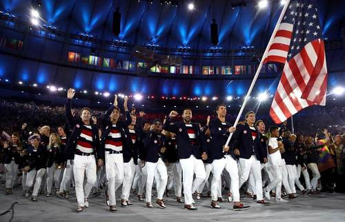Michael phelps us team at rio opening ceremony