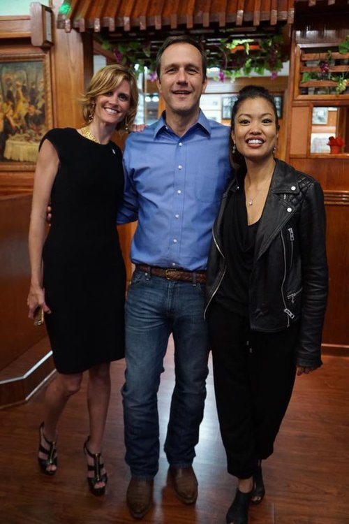 Sara Blackwell, Paul Nehlen and Michelle Malkin at the Memorial for American Workers event last night outside the Abbott Labs facility.