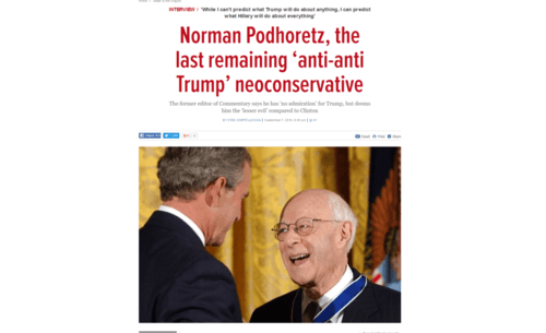 Norman podhoretz the last remaining anti anti trump neoconservative the times of israel   2016 09 15 16.14.15