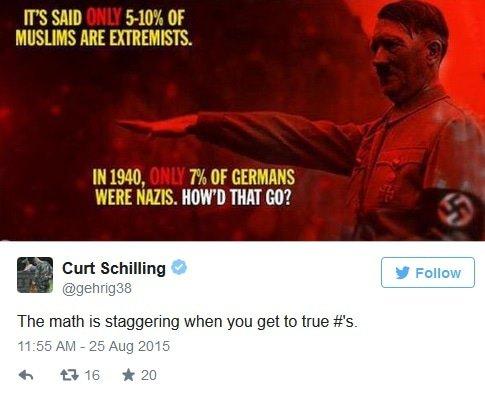 Curt schilling muslim nazi tweet
