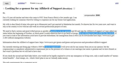 A Reader Finds Ad For Immigration Fraud On Craigslist