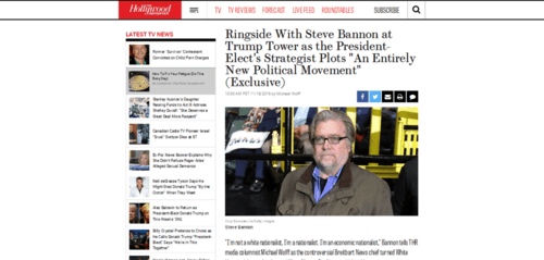 Steve bannon trump tower interview trump s strategist plots new political movement hollywood reporter   2016 11 18 21.39.49