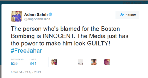Adam saleh on twitter the person who s blamed for the boston bombing is innocent. the media just has the power to make him look guilty freejahar   2016 12 21 21.55.12