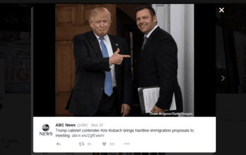 Abc news on twitter trump cabinet contender kris kobach brings hardline immigration proposals to meeting. t.co wk1curmxqc t.co vkvspxcczh   2016 11 22 23.10.49 588x372