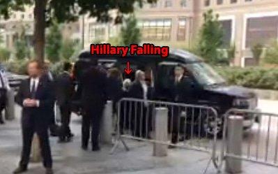 Hillary faints van 9 11 memorial
