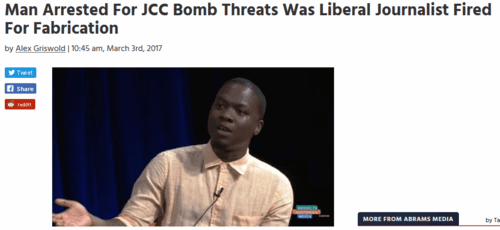 Man arrested for jcc bomb threats was liberal journalist fired for fabrication mediaite   2017 03 03 12.13.29