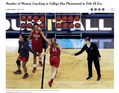 Number of women coaching in college has plummeted in title ix era   the new york times   2017 03 31 10.54.07