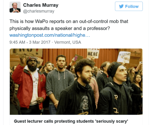 The attack on charles murray at middlebury college injured a female professor vdare   premier news outlet for patriotic immigration reform   2017 03 03 21.29.02