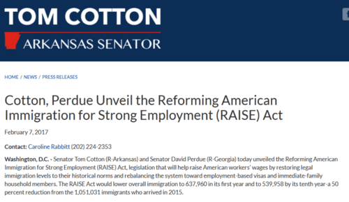 Cotton perdue unveil the reforming american immigration for strong employment raise act tom cotton u.s. senator for arkansas   2017 04 04 12.07.22